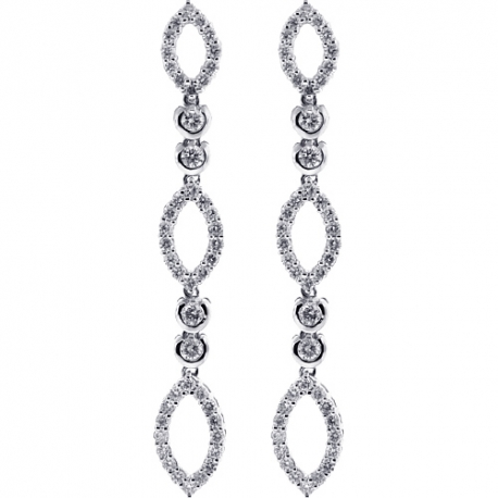 Womens Diamond Open Drop Earrings 18K White Gold 1.31 Carat