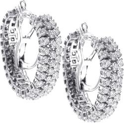 18K White Gold 1.90 ct Diamond Womens Mesh Hoop Earrings