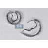 Womens Diamond Mesh Hoop Earrings 18K White Gold 1.90 ct