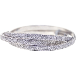 Womens Diamond Triple Bangle Bracelet 14K White Gold 22.09 ct