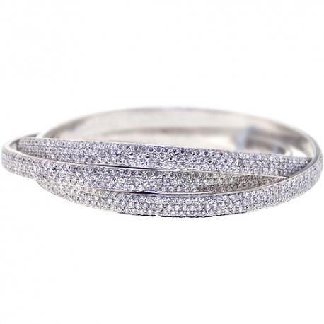 Womens Diamond Triple Bangle Bracelet 14K White Gold 22.09 ct