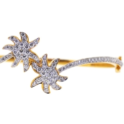 Womens Diamond Palm Bangle Bracelet 14K Yellow Gold 1.65 ct