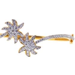 14K Yellow Gold 1.65 ct Diamond Palm Womens Bangle Bracelet