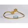 Womens Diamond Palm Bangle Bracelet 14K Yellow Gold 1.65 ct