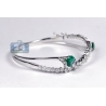 Womens Emerald Diamond Bangle Bracelet 18K White Gold 5.24 ct