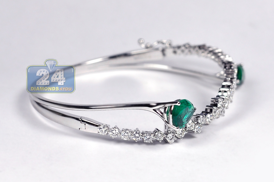 Womens Emerald Diamond Bangle Bracelet 18K White Gold 5.24 ct