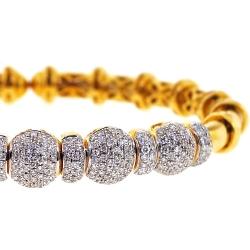 18K Yellow Gold 1.90 ct Diamond Flexible Cuff Bangle Bracelet