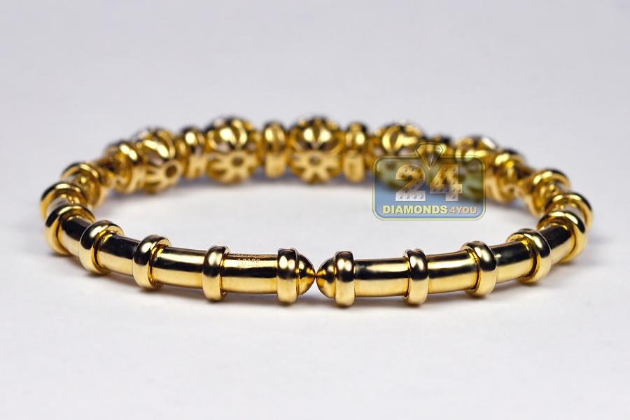 Womens Diamond Flexible Cuff Bangle Bracelet 18K Yellow Gold 1 9 ct