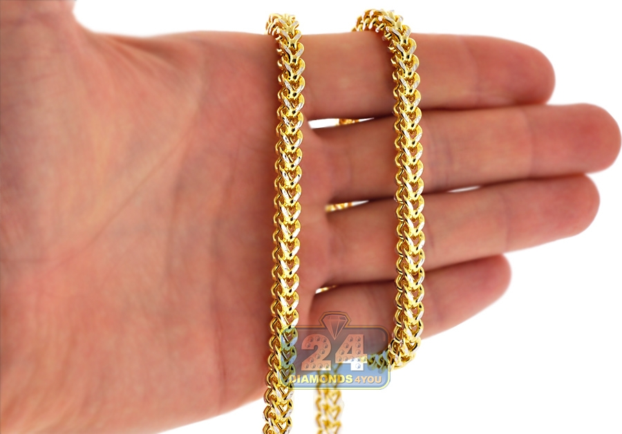 Real 14k Yellow Gold Franco Diamond Cut Link Mens Chain 5 5mm