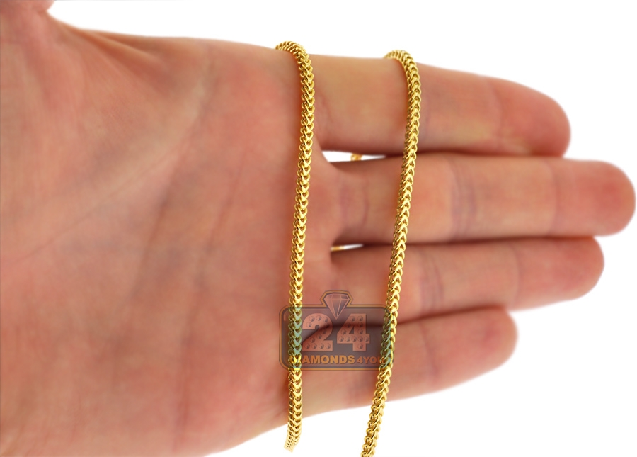 Italian 14k Yellow Gold Franco Link Mens Chain 2 1 Mm