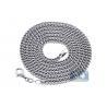 Italian 14K White Gold Hollow Franco Link Mens Chain 2.9 mm