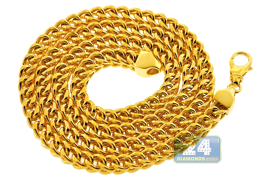 ca50c218adcda Heavy 14K Yellow Gold Franco Hollow Link Mens Chain 7 mm