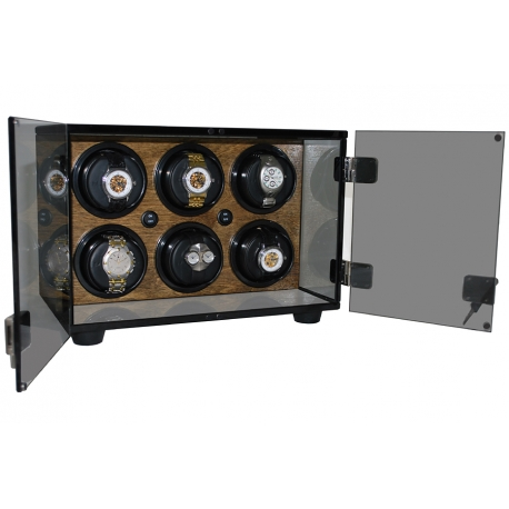 Six Watch Winder Cabinet W60144 Orbita Milano Walnut Teak