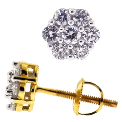 14K Yellow Gold 0.50 ct Diamond Cluster Womens Stud Earrings