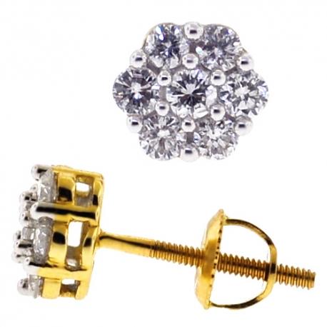 Womens Diamond Cluster Stud Earrings 14K Yellow Gold 0.50ct
