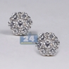 Womens Diamond Cluster Stud Earrings 14K Yellow Gold 0.50ct