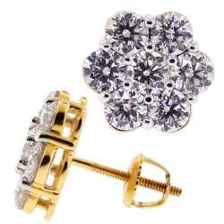 Womens Diamond Cluster Flower Stud Earrings 14K Yellow Gold 3.1 ct