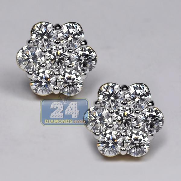 3949d3551884 Womens Diamond Cluster Flower Stud Earrings 14K Yellow Gold 3.1ct