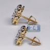 Womens Diamond Cluster Flower Stud Earrings 14K Yellow Gold 3.1ct