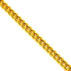 Italian 14K Yellow Gold Hollow Franco Mens Chain 4.5 mm