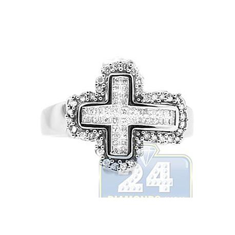 14K White Gold 0.74 ct Princess Cut Diamond Mens Cross Ring