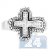 14K White Gold 0.74 ct Princess Cut Diamond Mens Cross Ring