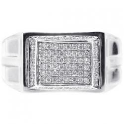 14K White Gold 0.70 ct High Set Diamond Mens Signet Ring
