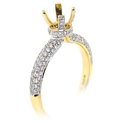 14K Yellow Gold 0.77 ct Diamond Semi Mount Engagement Ring