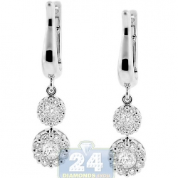 18K White Gold 0.96 ct Diamond Cluster Womens Drop Earrings