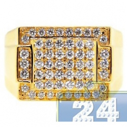 14K Yellow Gold 1.31 ct Diamond Classic Rectangle Signet Ring