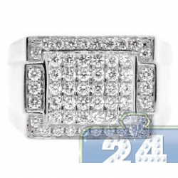 14K White Gold 1.31 ct Diamond Classic Rectangle Signet Ring