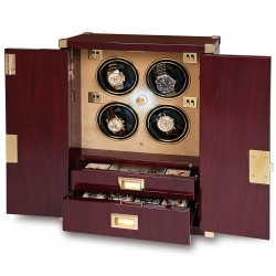 Rapport Optima Captian's Mahogany 4 Watch Winder W284