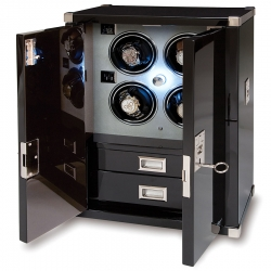Quad Watch Winder Cabinet W294 Rapport Optima Captian's Ebony