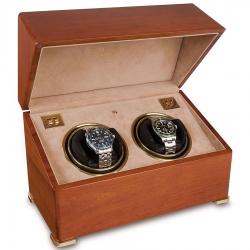 Rapport Perpetua II Satin Walnut Double Watch Winder Box W112