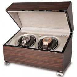 Double Watch Winder Box W342 Rapport Vogue Macassar Wood
