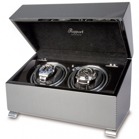 Double Automatic Watch Winder Box W372 Rapport Vogue Carbon Fiber