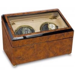 Rapport Optima Walnut Burl Double Watch Winder W232