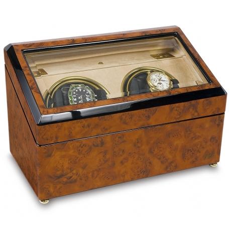 Rapport Optima Walnut Burl Wood Double Watch Winder Box W232