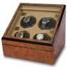 Rapport Optima Walnut Burl Wood Quad Watch Winder Box W234