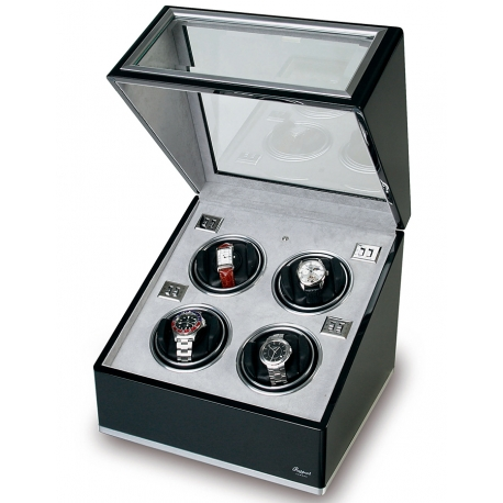 Rapport Optima Ebony Aluminum Quad Watch Winder Box W264