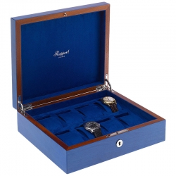 Rapport Heritage Blue Wood 8 Watch Storage Box L401