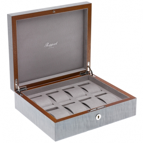 Rapport Heritage Gray Wood 8 Watch Storage Box L416