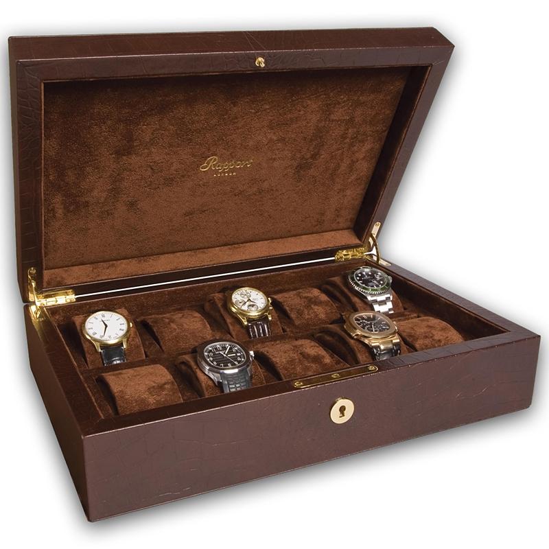 10 Watch Storage Box L265 Rapport Portman Brown Leather