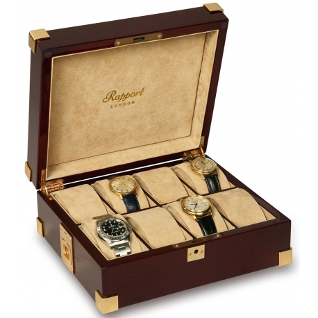 Rapport Captain's Mahogany Wood 8 Watch Storage Box B266