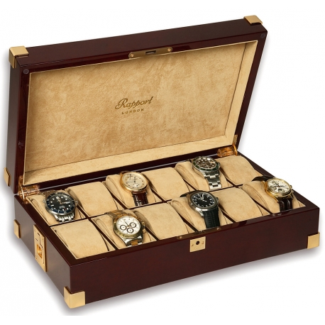Rapport Captain's Mahogany Wood 12 Watch Storage Box B267