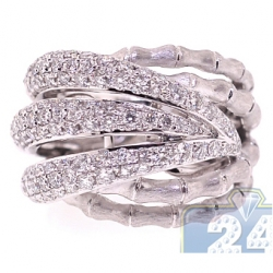 18K White Gold 2.53 ct Diamond Womens Bamboo Ring