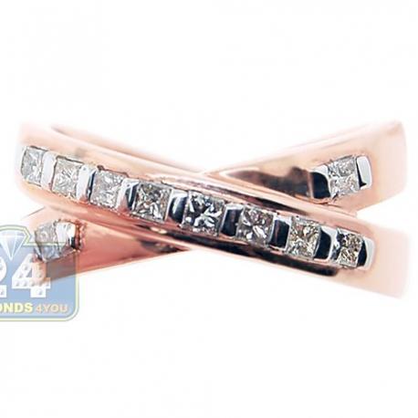 14K Rose Gold 0.50 ct Princess Cut Diamond Womens Crossed Band Ring
