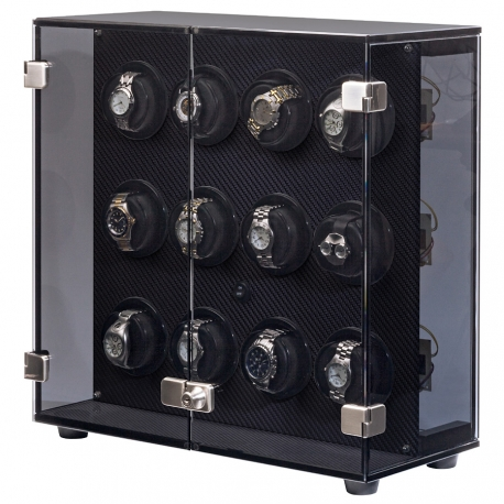 Orbita Milano Carbon Fiber 12 Watch Winder Cabinet W60140 Programmable