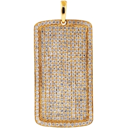 Mens Iced Out Diamond Dog Tag Pendant 14K Yellow Gold 6.52 ct