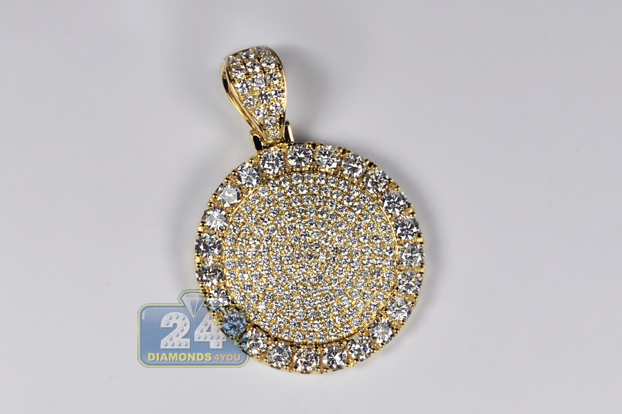 Mens diamond round medallion pendant 14k yellow gold 773 ct mozeypictures Choice Image